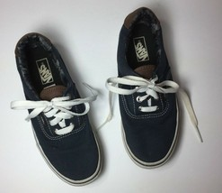 Vans Boys Skater Shoes Blue Shoes Youth 2.5M Canvas Lace Up Padded Ankle - $14.72
