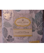 Olive & Thyme Aqua and Gray Leaves on White Indoor/Outdoor Tablecloth 84... - $37.00