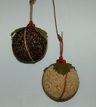 Sage Company XAO13973 Bird Seed Ornaments Set of 2 Burlap Green Leaves image 1