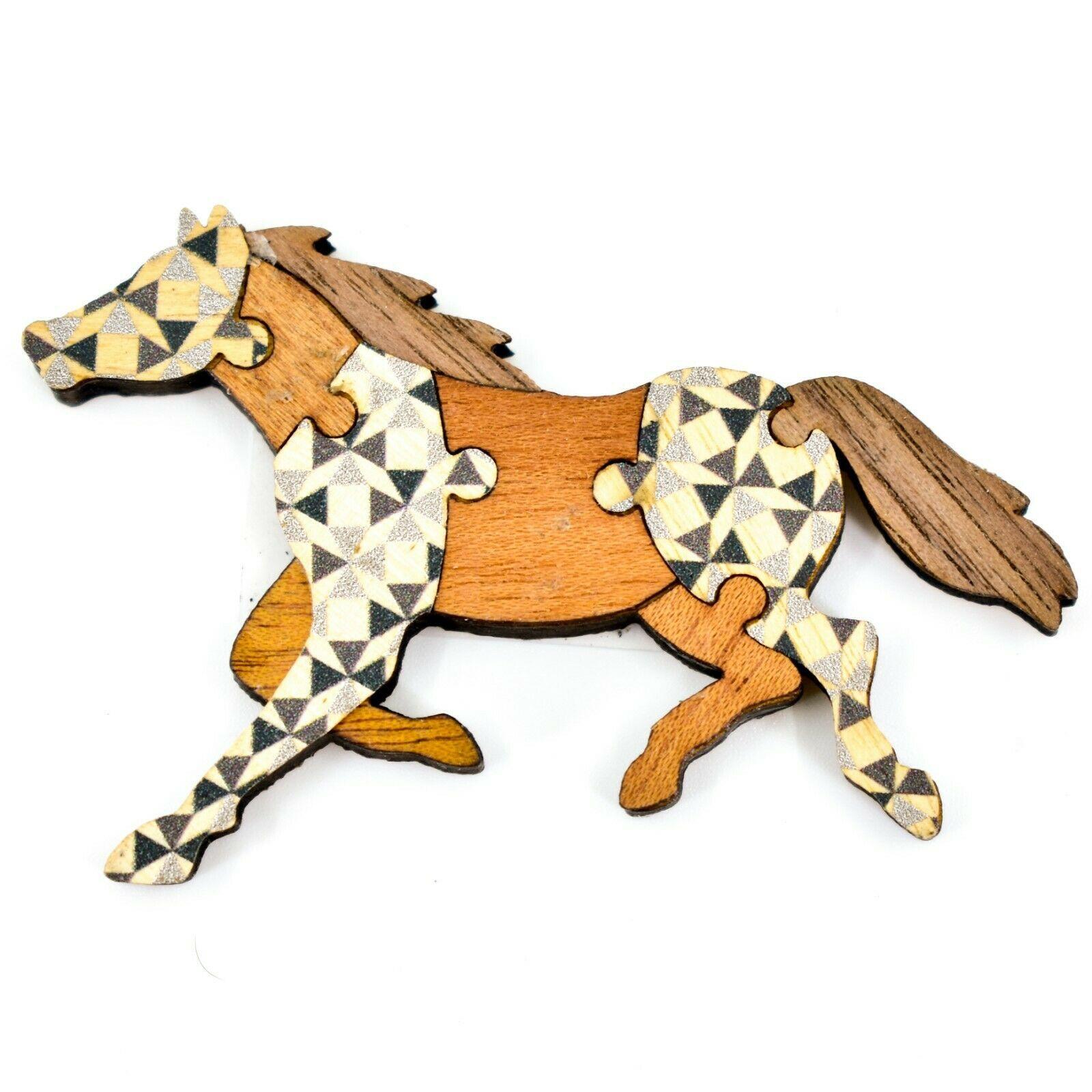Northwoods Wood Cutout Running Horse Jigsaw Puzzle Design Magnet