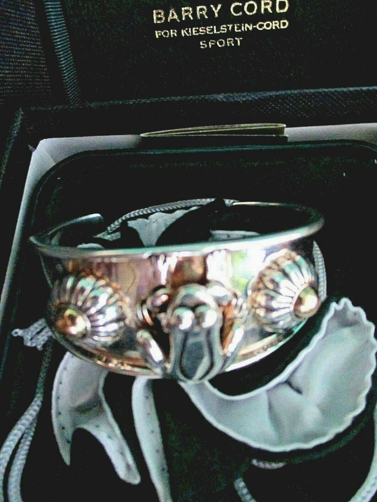Barry Kieselstein Cord Frog & Flowers Cuff Bracelet Sterling & 14K Gold Orig Box