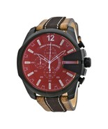 Diesel Men Mega Chief Chronograph Iridescent Red Dial Brown Leather Watc... - £119.66 GBP