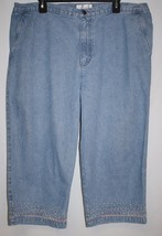CJ Banks Womens PLUS 18W Blue Denim Capri Pants Cropped Embroidered Hem ... - $14.46