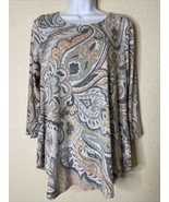 Ruby Rd. Womens Size S Pink & Gray Paisley Tunic 3/4 Sleeve - $12.67