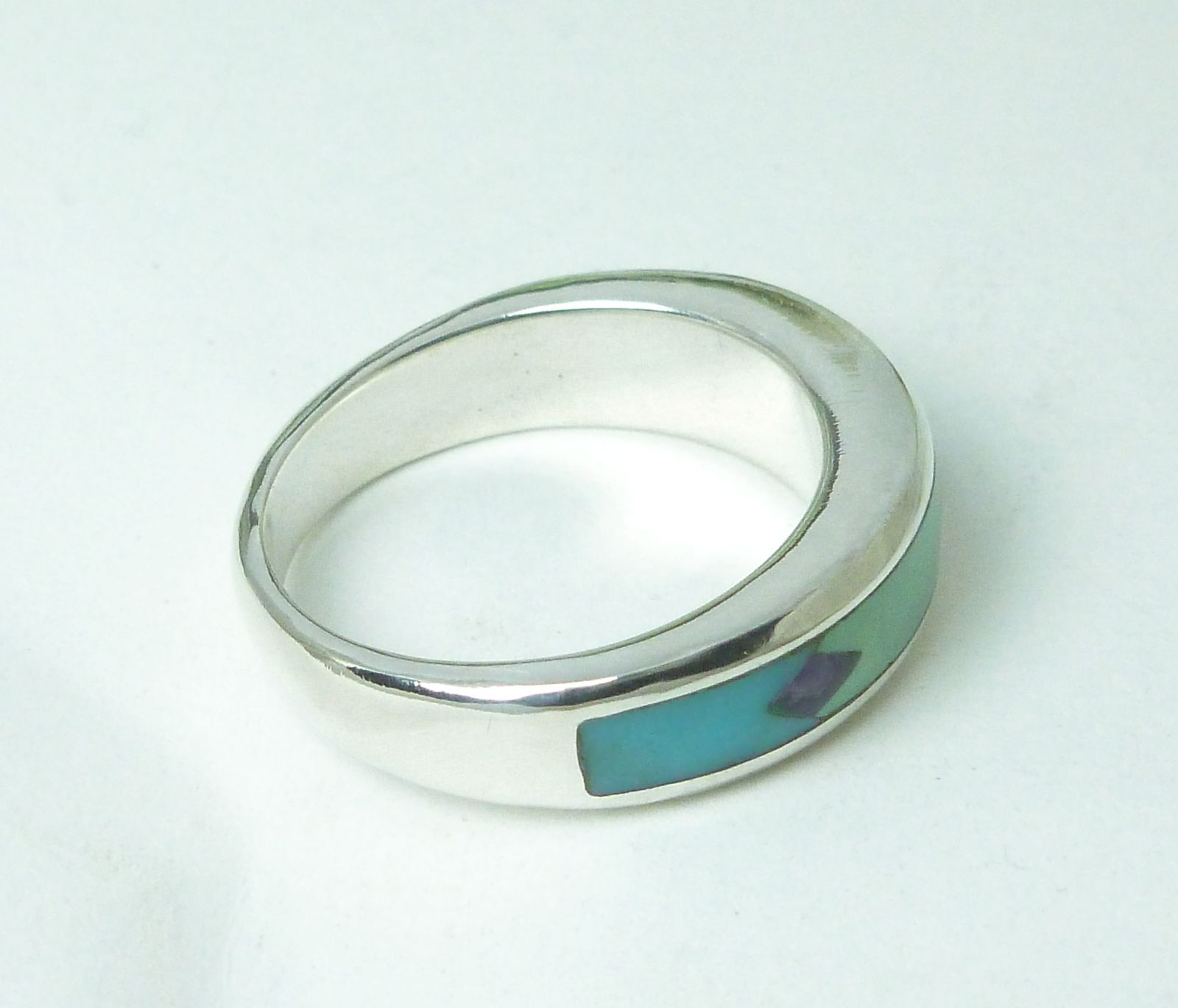 Southwestern Sterling Channel Turquoise Inlay Band Ring Size 7