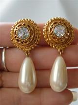 Vintage Maxine Denkler Earrings Faux Pearl Drop Rhinestone Gold tone m 80's - $23.71