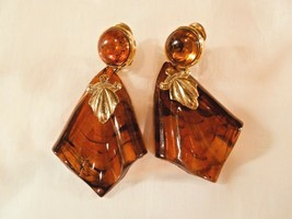 "VINTAGE BROWN MARBLED BAKELITE EARINGS LARGE 3"" GOLD HARDWARE - $26.73"