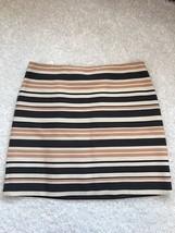 Ann Taylor Loft Women Skirt 14 Pencil Black Gray Ivory Striped Textured ... - $26.69