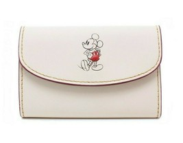 NWT COACH DISNEY Mickey Minnie Key Case Wallet Organizer Chalk White F86908 - $67.32