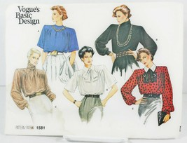 Vogue 1581 Sewing Pattern Vintage Blouse 1985 Five Designs Sz 14 Loose F... - $11.00