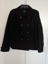 GAP LADIES BLACK DOUBLE BREASTED PEA COAT-L-GENTLY WORN-80% WOOL/20% NYL... - $32.00