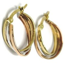 Earrings Gold Hoop White, Pink, Yellow 750 18K, Braid, Squares 1.5 CM image 2