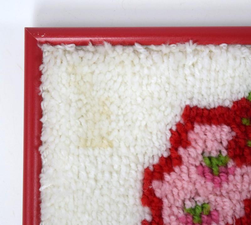 Vtg 80s STRAWBERRY SHORTCAKE Red Framed Latch Hook Rug Tapestry Textile Wall Art