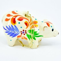 Handcrafted Painted Ceramic White Polar Bear Confetti Ornament Made in Peru