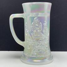 Federal glass mug stein cup opalescent carnival white german bar pipe barware us - $34.65