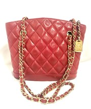 Vintage CHANEL lipstick red quilted lamb leather trapezoid shape tote ba... - $1,022.00