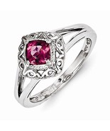 STERLING SILVER POLISHED SCROLL DESIGN 1/2 CT  PINK TOURMALINE RING - SI... - $138.64