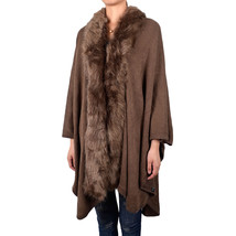 Women's Thick Long Solid Color Knit Winter Poncho-like Shawl Wrap Faux Fur - $34.95