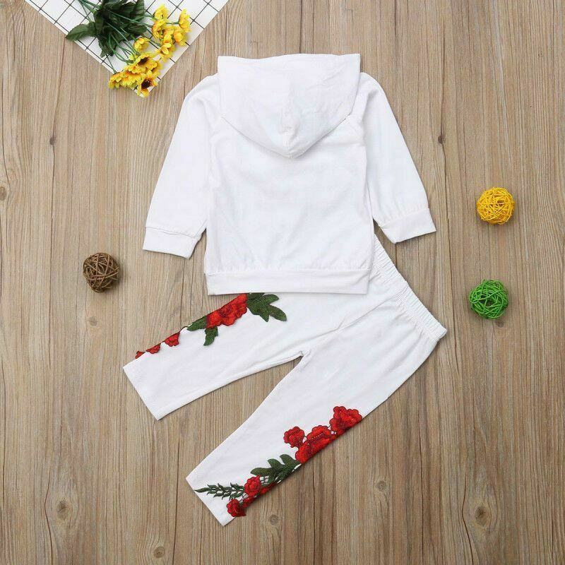 Fashion Toddler Baby Girl Floral Hooded Top Long Pants Outfits Clothes Tracksuit image 5