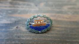 Vintage Enamel Silver Boat Pin 2.8cm - $17.82