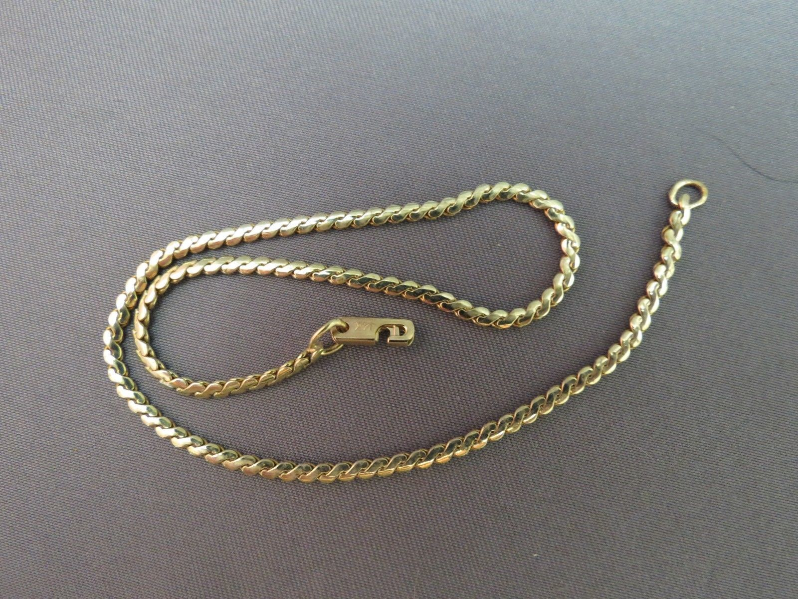 "Rare 14k Yellow Gold Speidel Flat Chain Bracelet 4.82g 2mm 9.25"" Wrist or Ankle"