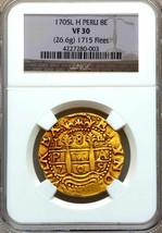 """PERU 8 ESCUDOS 1705 """"1715 FLEET SHIPWRECK"""" NGC 30 PIRATE GOLD COINS TREA... - $27,500.00"""