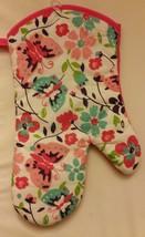 """RARE Fabric Printed Kitchen 13"""" Jumbo Oven Mitt, BUTTERFLIES on FLOWERS - $7.91"""