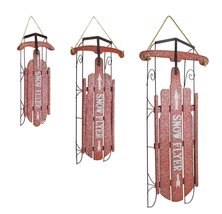 Seasonal Glittery Red and White Metal & Wood Sleds (set of 3) - $79.00