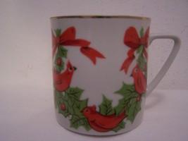 LEFTON China #1303 Christmas Mug Mugs Ceramic Hand Painted Dinnerware Holidays - $12.82