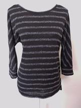 Lou & Grey Ann Taylor Loft Black White Stripe Lightweight Loose Sweater ... - $24.06