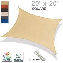 SUNNY GUARD 20' x 20' Square Sun Shade Sail UV Block for Outdoor Patio Garden-Sa