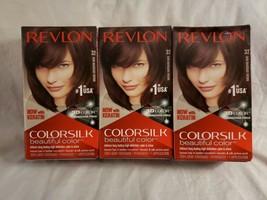 (3) Revlon Color Silk Beautiful Color Permanent Hair Color 32 Dark Mahogany Brown - $20.00
