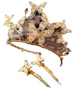 Baroque Gold Metal Butterfly Headband Hairband Gold Crown Tiara Wedding ... - $35.03