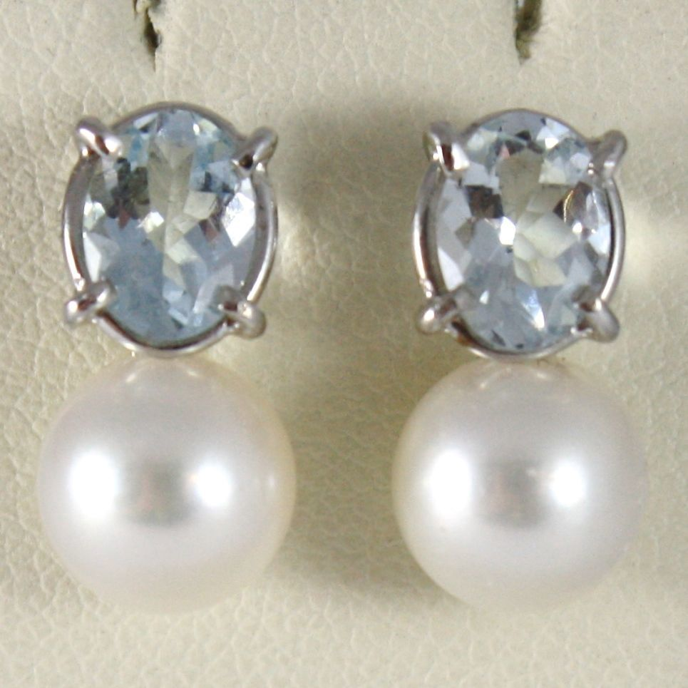 WHITE GOLD EARRINGS 750 18K, PEARL WHITE AND AQUAMARINE OVAL 1.40 CARAT