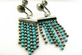 Retro silver tone blue & silver beads charming fringe dangle screw clip ... - $9.90