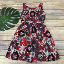 Talbots Floral Dress Size 8 Red Blue Sleeveless Fit Flare Belted Pockets - $23.75