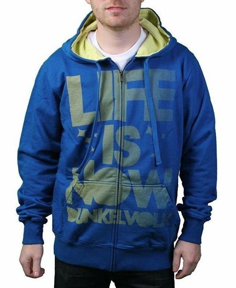 Dunkelvolk Life is Now Snorkel Blue Yellow Hoodie Hooded Sweater Peru Surf NWT