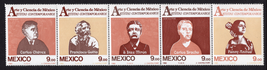 1983 Contemporary Artists Strip of 5 Mexico Postage Stamps Catalog 1335a MNH