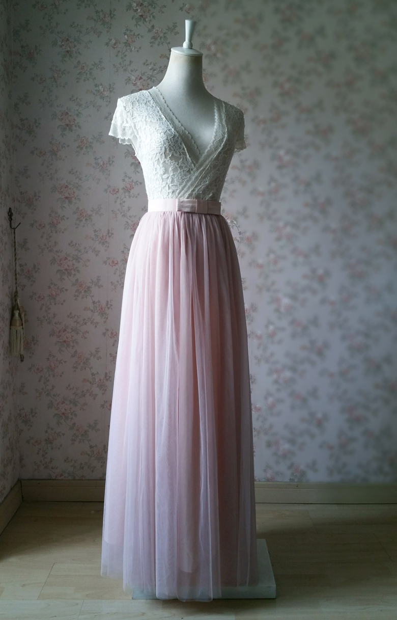 BLUSH Full Tulle Maxi Skirt BOW-TIE Bridal Shower Bridesmaid Tulle Skirt Bowknot
