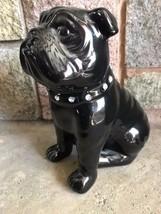 Small Ceramic Pottery Black Bulldog & Diamond Style Studded Collar Figurine - $154.42