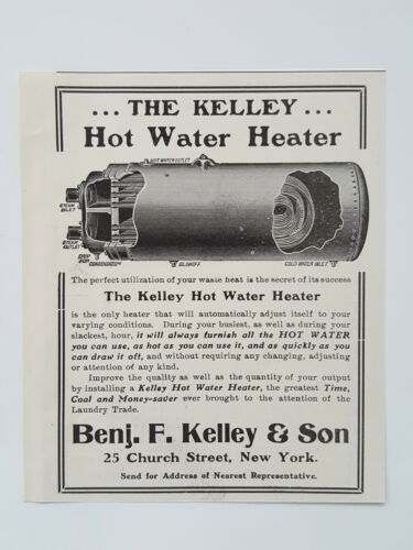 Primary image for 1911 Benj. F. Kelley & Son Hot Water Heater Laundry Supply Vtg Magazine Print Ad
