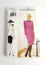 Vogue 9385 Dress Slim Chic Size 14 16 18 Layered Drop Waist Tiers 1995 U... - $14.99