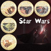 5Pcs Star Wars Coin With Box Commemorative Collectible Yoda Darth Vader ... - $49.90