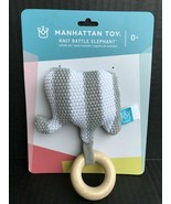 2x TWO Knit Elephant Rattle & Teether Gray Manhattan Toy Co. NEW Ages 0+ - $14.59