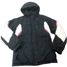 COLUMBIA Youth Sz 14/16 Hoodie Jacket Black Waterproof Pockets Zip Snaps - $23.81
