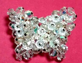 VINTAGE CRYSTAL BEADED BUTTERFLY BROOCH PIN - $40.00