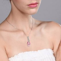 Beautiful Tear Drop Ribbon Pendant on 18inches Chain Made with Swarovski (Pink) image 3