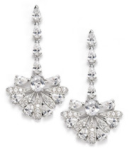 NWT CZ by Kenneth Jay Lane CZ Ornate Lotus Fan Drop Earrings KE564 - $68.04