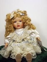 Beautiful Golden Hair Lovely White Dress Hand Painted Doll Porcelain 8+ (3B11*) - $49.99
