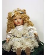 Beautiful Golden Hair Lovely White Dress Hand Painted Doll Porcelain 8+ ... - $49.99